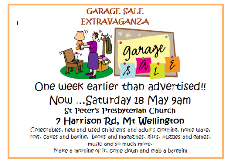 May Garage sale This Saturday (May 18th)